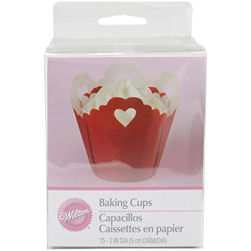 Wilton Pleated Heart Eyelet Baking Cup, 15-Count