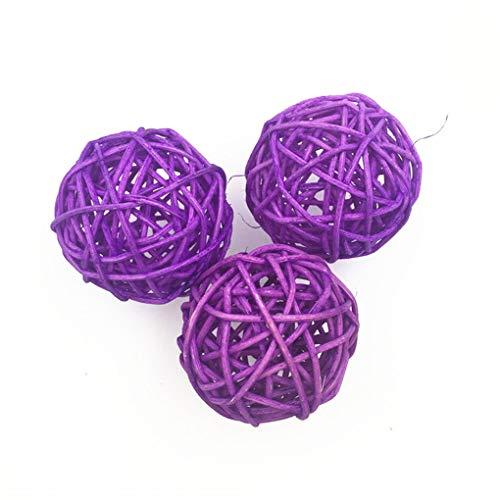 Xinjieda 10pcs 3cm decoración de la Boda Artificial Bola Decoraciones de Navidad Adorno de jardín de Infancia Fiesta de cumpleaños de la Bola de Paja Rota