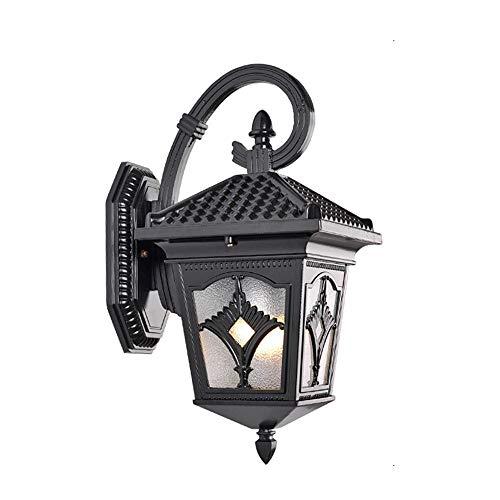 Nanyun wandlantaarn, wandlamp, waterdicht, buitenlamp, wandlamp, zwart met waterglas voor planken, yards, front porch