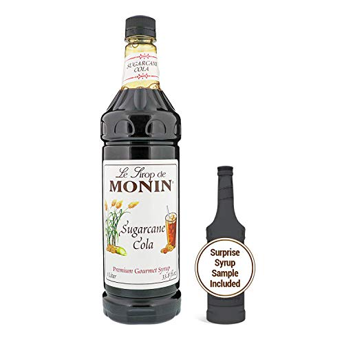 Monin - Sugarcane Cola Syrup, Authentic Cola Flavor, Great for Soda, Floats, and Slushes, Vegan, Gluten-Free (1 Liter + 50ml Sample)