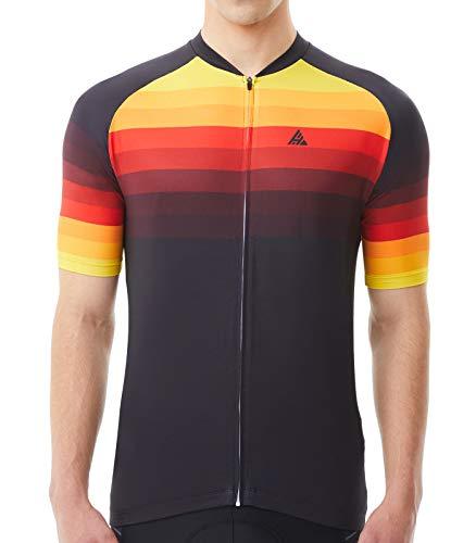Hikenture Cycling Jersey Mens Short Sleeve Bike Shirts with 3 Pockets, Full Zipper Mountain Road Biking Clothes(YellowBlack L)