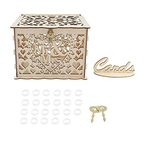 Caja de Tarjetas con Llaves Bricolaje Regalo de Dinero Caja rústica Hueca para Boda de Fiesta de cumpleaños