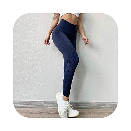 Fitness-Leggings, hohe Taille, Bauchkontrolle, nahtlos, Energie, Workout, Laufen, Sportbekleidung, Yoga-Hose, Hüftlifting, Training Gr. S/M, marineblau