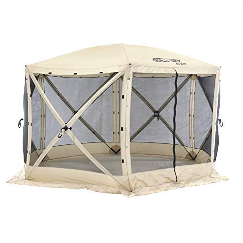 CLAM Quick-Set Escape 11.5 x 11.5 Foot Portable Pop-Up Outdoor Camping Gazebo Screen Tent 6 Sided Canopy Shelter with Ground Stakes & Carry Bag, Tan
