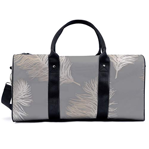 Sports Gym Bag,Holden Decor Fawning Feather Grey Rose Gold Metallic Handbag Yoga Bag Shoulder Tote Weekend Bag Travel Holdall Duffel Bag for Adult Men Women