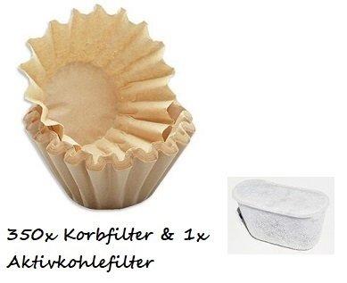 350x kleine Kaffee-Korbfilter braun 80/200 Filter + 1x Aktivkohlefilter