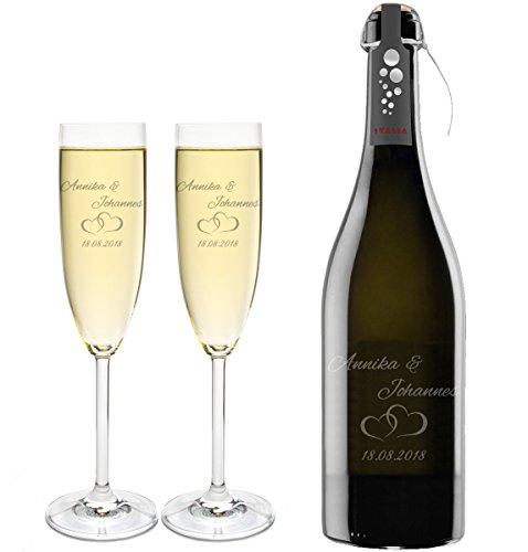 FORYOU24 2 Leonardo Sektgläser mit Prosecco und Gravur Paar Sekt-Glas graviert Hochzeit Geschenkidee Sektglas-Set graviert