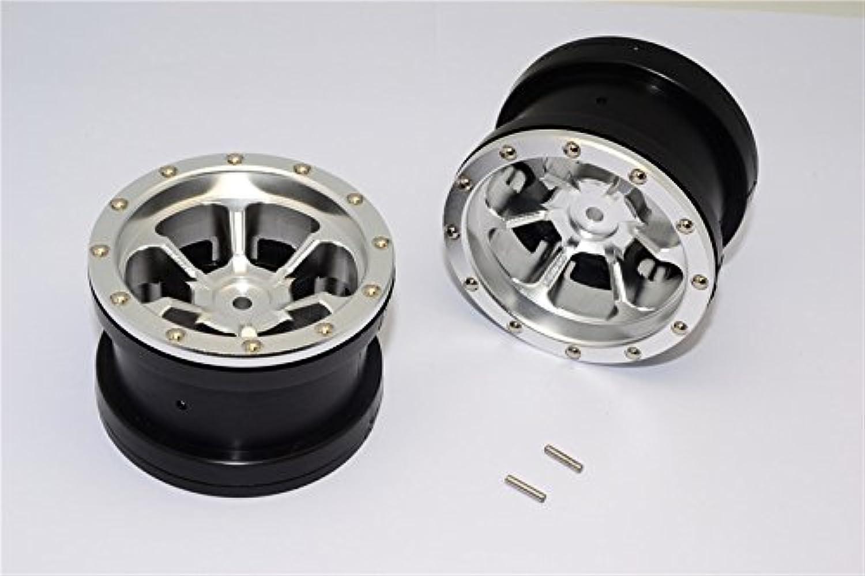 Aluminum 6 Poles Beadlock & Nylon Wheels Frame For 2.2'' Tire - 1Pr Silver