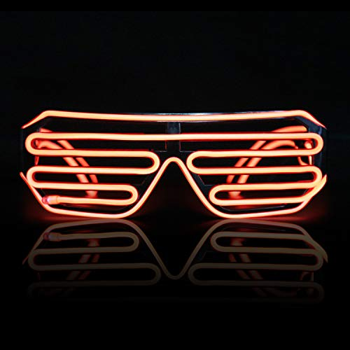 Neon El Wire LED Lighting Up Slotted Shutter Glasses Eyeglasses Eyewear , for Music Concert Live, Stage Performance Show,for Christmas Halloween Wild Party,Dance Ball,Crazy Parties, Raves (Rojo 1)
