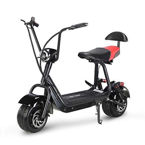 E Roller 500W Electric Scooter 2 Sitze 3 Einstellbare Geschwindigkeit Citycoco Elektro Roller 48V Langstreckenbatterie 25KM/H Elektroroller Erwachsene Elektroroller Schwarz