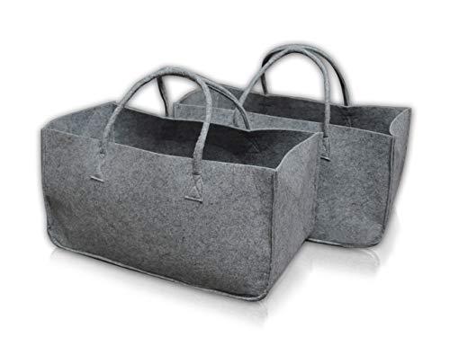 Milanino - Juego de 2 bolsas de fieltro para leña, cesta para leña, cesta de fieltro, cesta para periódicos, color gris claro