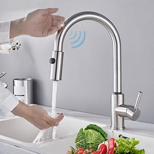 BONADE Touch Sensor Küchenarmatur Spültischarmatur 304 Edelstahl Induktion 360° Drehbar Einhebelmischer Spültischarmatur Mischbatterie mit 2 Strahlarten Wasserhahn mit 60 cm Ausziehbar Brause