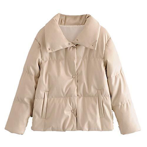 N\P Women Jacket Coat Oversized Buttons Winter Female Turn Down Collar Jacket Overcoat Beige