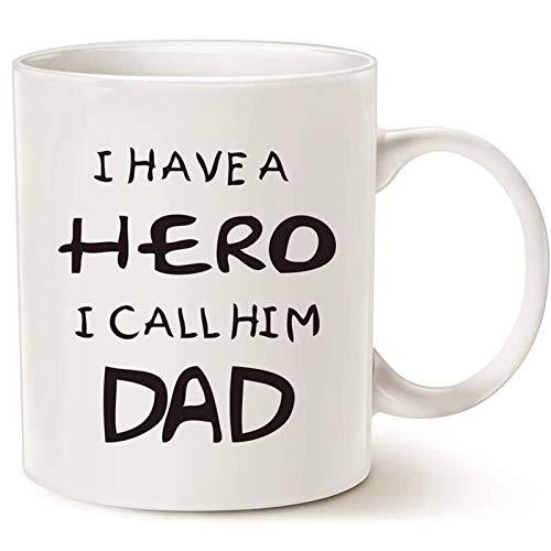 Diuangfoong Taza de café con texto en inglés 'Día del padre para papá', con texto en inglés 'I Have a Hero I Call Him '