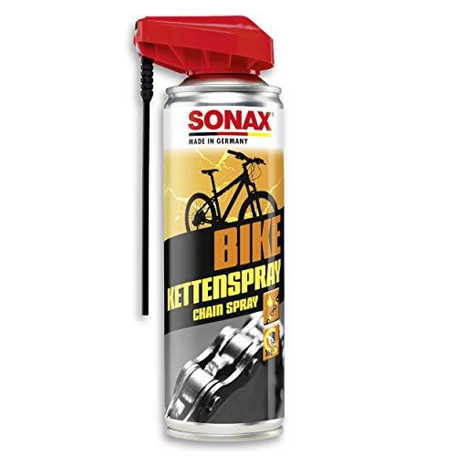 SONAX BIKE KettenSpray mit EasySpray (300 ml) - reinigt, schützt & schmiert, verringert Verschleiß & Reibung, Korrosionsschützend, hohe Kriech- & Haftwirkung   Art-Nr. 08762000