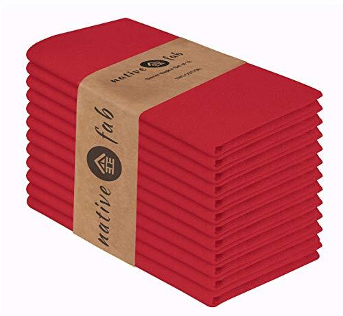 Native Fab Stoffservietten 12er-Set 100% Baumwolle 44x44 cm für Veranstaltungen und regelmäßige Heimnutzung, Weich Bequem Maschinenwaschbar Wiederverwendbare Servietten Rot