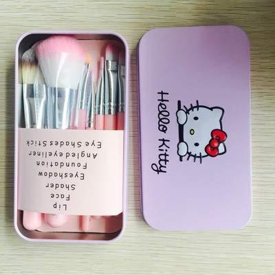 Hello Kitty juego de brochas de maquillaje Hello Kitty de dibujos animados de 7 piezas de lata de maquillaje cepillo de regalo
