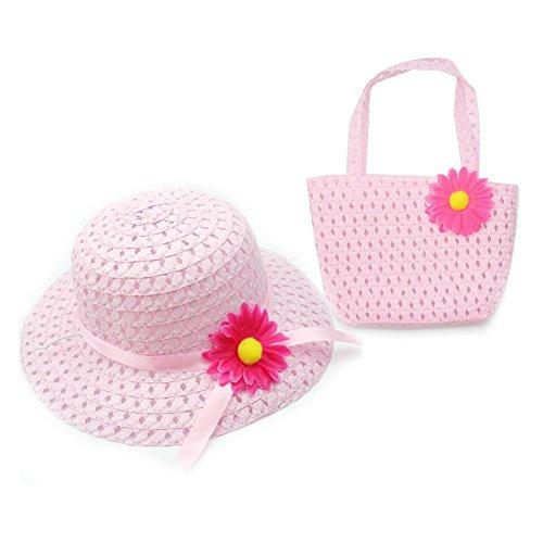 Clest F&H Summer for Kids Lovely Charm Princess Straw Baby Mädchen Sonnenhut Blume Cap und Handtasche Sets - verschiedene Farben (Pink)
