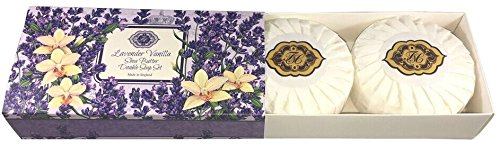 Lavender Vanilla, Shea Butter, Double Soap Gift Set. Made in England, Triple Milled, Environmentally Friendly (Green). Two 3.5oz round bars.
