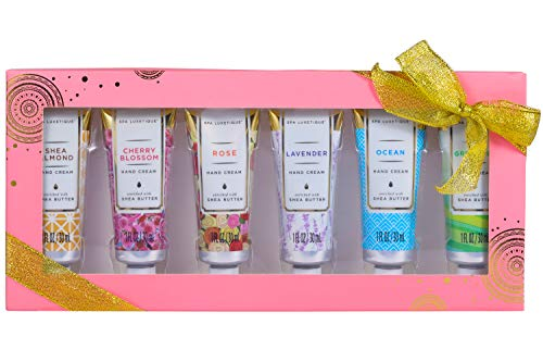 Spa Luxetique Shea Butter Hand Cream Gift Set for Women, 6 Travel Size (1oz each) Nourishing Hand Cream Set with Natural Aloe and Vitamin E, Moisturizing & Hydrating for Dry Hands. Ideal Gift for Women, Her, Birthday & Anniversary Gift Idea