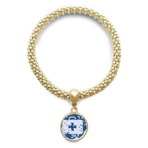 DIYthinker Damen Blau Erste-Hilfe-Kit Design Laufende Illustration Muster Goldene Armband Laufende Anhänger Schmuck-Kette
