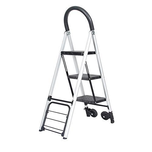 HLL Taburetes de Escalones, Aleación de Aluminio de la Casa Escalera Plegable de Silencio Mute Portátil Multifuncional Multifuncional Paso de Tres Pasos Taburete de Doble Uso Carros de Escalera Stepl