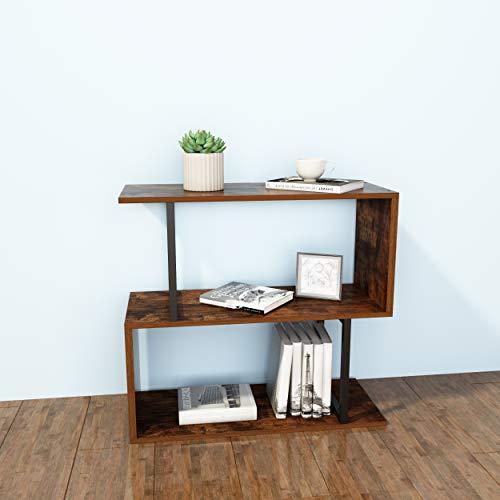 SIMPDIY Bücherregalregal,2-stöckiges industrielles Bücherregal, einfach zu montierendes Bücherregal mit Metallrahmen für Wohnzimmer, schmal, Schlafzimmer, Büro(Retro Eichenoberfläche)
