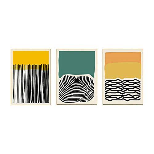 Amarillo Verde Abstracto Arte de la Pared Estilo nórdico Poster e Impresiones línea boceto Lienzo Pintura Sala de Estar hogar Vintage Cuadros Decoracion 40x60cmx3 sin Marco