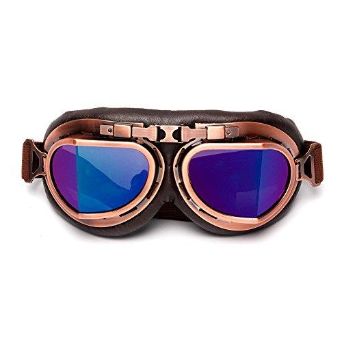 LEAGUE&CO Retrodesign Motorradbrille Pilotenbrille Schutzbrille Fliegerbrille Helm Brillen (Mehrfarbig)