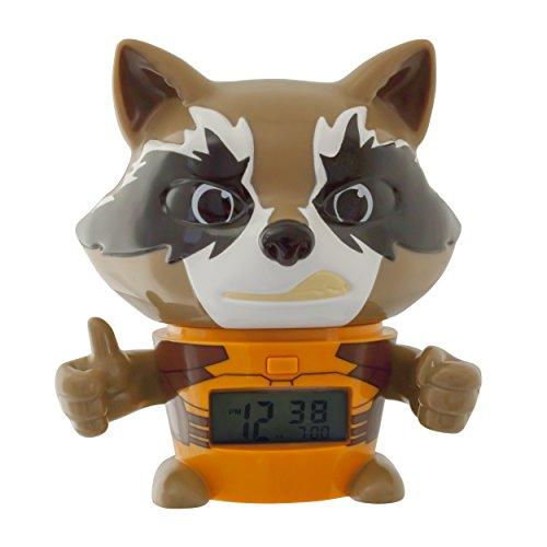 BulbBotz 2021357 Marvel Guardians of the Galaxy 2 Rocket Raccoon Kinder-Wecker mit Nachtlicht und typischem Geräusch , braun/orange, Kunststoff , 14 cm hoch , LCD-Display , Junge/ Mädchen , offiziell