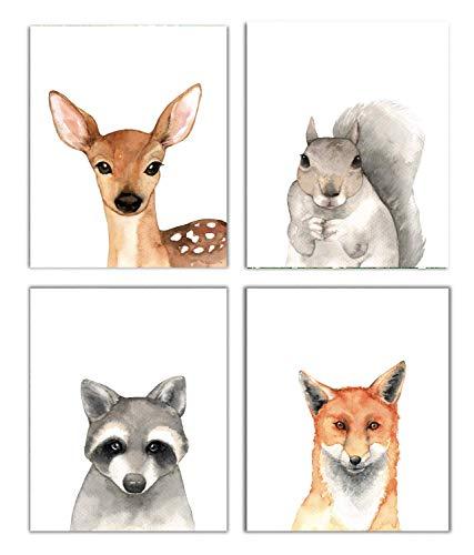 Nursery Decor Watercolor Art Posters Set of 4 Woodland Animal Portraits (Unframed) 8'x10' Prints