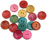 Sadingo Bottoni eleganti 30 mm (50 pezzi) misura bottoni in legno multicolore, bottoni 3 cm, set di bottoni da cucire