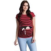 Fuga de bebé - Moda premamá Divertida y Dulce - Camiseta premamá Sudadera con Estampado Durante el Embarazo - Camiseta premamá, Manga Corta (Vino, Small)