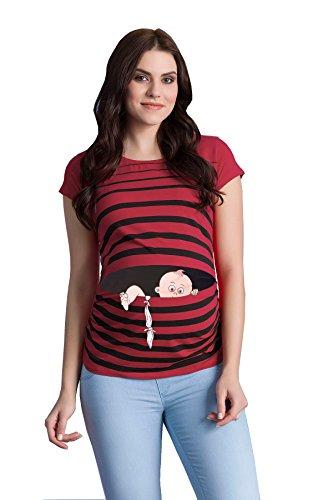 Fuga de bebé - Moda premamá Divertida y Dulce - Camiseta premamá Sudadera con Estampado Durante el Embarazo - Camiseta premamá, Manga Corta (Vino, Large)