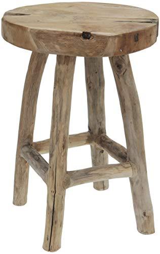 LS-LebenStil Beistelltisch Teakholz 42cm Braun Ethno Couchtisch Nachttisch Hocker Massivholz