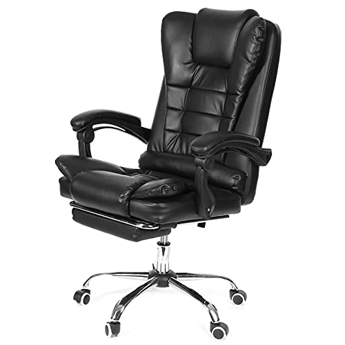 JIU SI Computer Office Chair Gaming Home Leather Executive Swivel Boss Chair Lifting Rotatable Armchair Footrest Adjustable Desk Chair