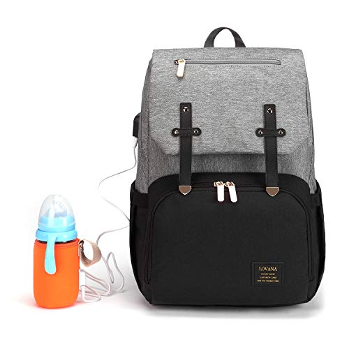 Diaper Bag Backpack, Maternity Nappy Bag, Multifunction Travel Back Pack, Newborn Baby Changing Bags with Bottle Warmer, USB Charging Port, Waterproof and Large Capacity for Boys & Girls (Black&Gray)