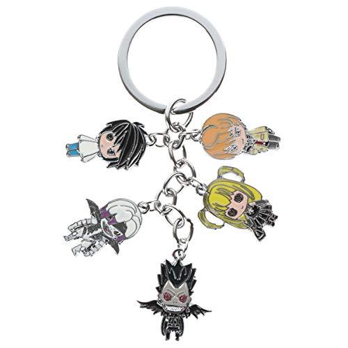 CoolChange Death Note Schlüsselanhänger | Schlüssel mit 5 Chibi Figuren | L Lawliet, Light Yagami, Ryuk, Rem, Misa