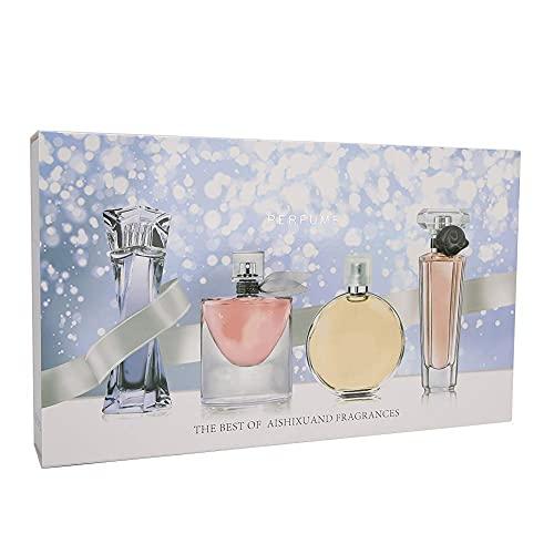 Brrnoo 4 Tipos de perfumes para Mujeres, Perfume de Larga duración con Cabezal de rociado rápido, Regalo navideño de San Valentín, Caja para Mujeres Eau de Parfum 25ml * 4