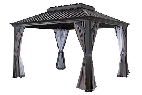 OUTFLEXX Hardtop Pavillon, braun, Alu, 300x365cm, inkl. Seitenwände und Insektennetz