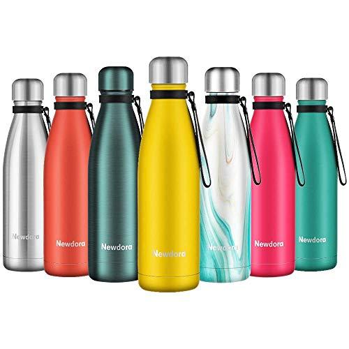 Newdora Botella de Agua Acero Inoxidable 500ml, Aislamiento de Vacío de Doble Pared, Botellas de Frío/Caliente, con 1 un Cepillo de Limpieza, para Niños, Deporte, Oficina, Gimnasio, Amarillo