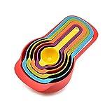 Cucharilla de medición, 6 piezas de cuchara medidora de plástico cuchara medidora para hornear, textura mate con escala fácil de limpiar colores brillantes cocina utensilios de taza de medición