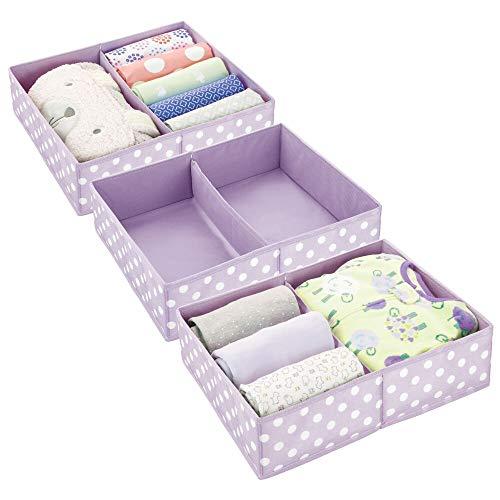 mDesign Juego de 3 Cajas para almacenar Ropa o Cosas de niños – Organizadores de cajones de Tela para habitación Infantil – Cestas organizadoras para armarios con 2 Compartimentos – Lila y Blanco
