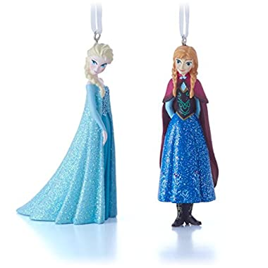 Hallmark Disney Elsa and Anna Christmas Ornaments, Set of 2