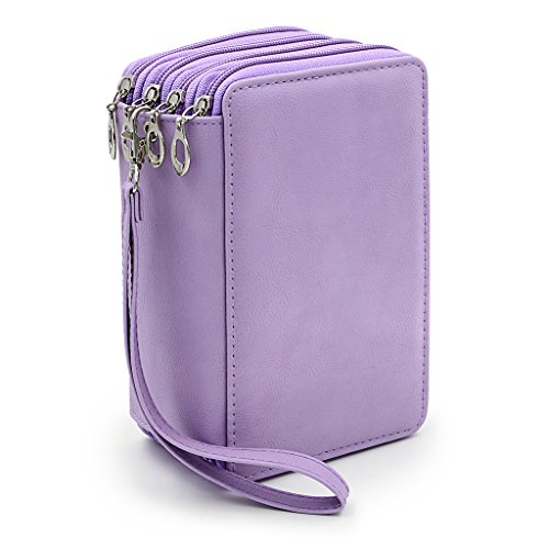 BTSKY PU Leather Colored Pencil Case with Compartments-72 Slots Handy Pencil Bags Large for Watercolor Pencils, Ordinary Pencils (Purple)