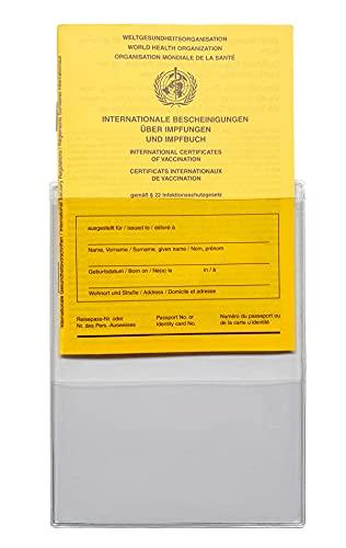 Impfausweishülle | Impfpasshülle | Einsteckhülle | NUR passend für den NEUEN Standard Impfausweis ab 1992 (93x130mm MESSEN!) | aus VINYL, Extrafach für Terminkarte, Verkauf 1-teilig ohne Impfausweis