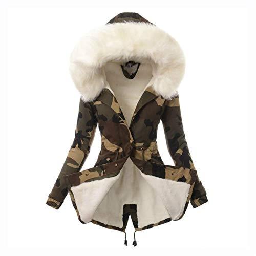 Chaqueta de Invierno para Mujer Parka Coat Chaqueta de Invierno Cálida Larga de Invierno Cuello Collar, Chaqueta de Invierno de diseño cálido con Capucha y Pelaje de Peluche