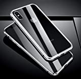 Tifightgo Kompatibel mit iPhone XR Hülle Gehärtetem Glas,Transparent Handyhülle Glas Panzerglas Schutzhülle Vollbild-Abdeckung Einteiliges mit Magnetic Adsorption Case Flip Cover für iPhone XR 6.1'