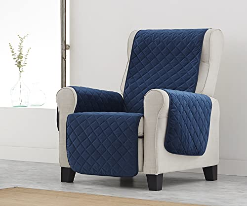 Textilhome - Funda Cubre Sillón Relax Terciopelo Marian, Tamaño 1 Plaza/Orejero - Protector Sillón Acolchado Antideslizante. Color Azul