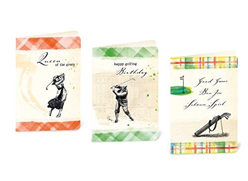 Susi Winter Design & Paper Hoogwaardige wenskaartenset voor de golfer en de golferin, binnen blanco, met afgeronde hoeken